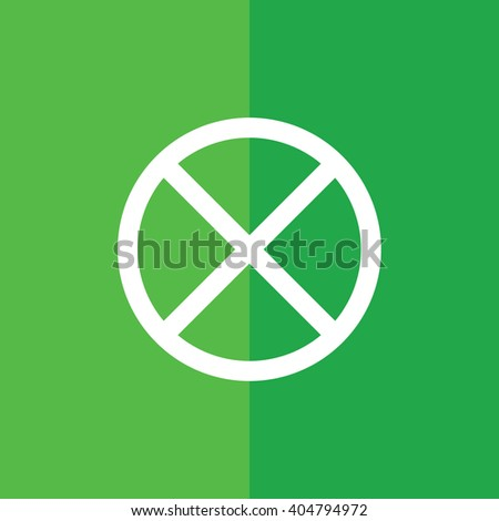 White no parking vector sign. Green background - stock vector