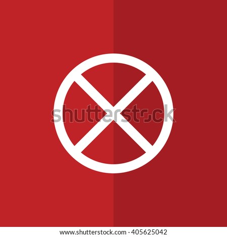 White no parking vector sign. Red background - stock vector