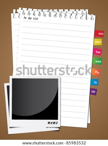 White note paper and photo frame