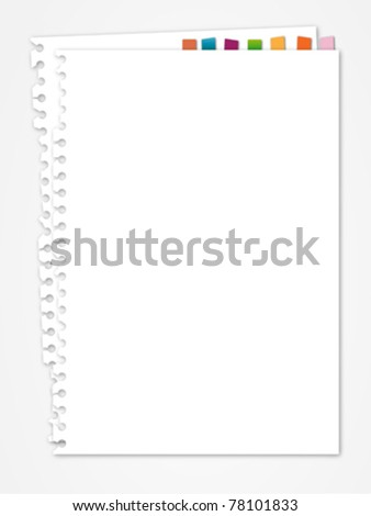 White note paper bookmark - stock vector