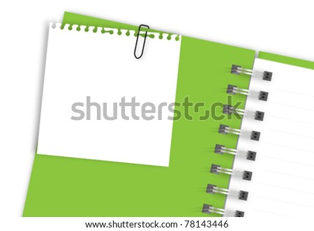 White note paper on green notebook - stock vector