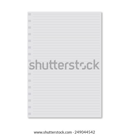 white notebook paper sheet - stock vector