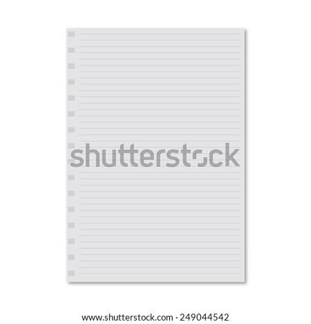 white notebook paper sheet - stock vector