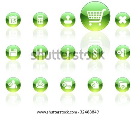 white on green aqua icons | set 13 - stock vector