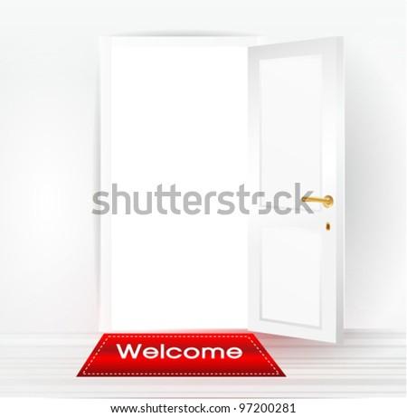 white open door - stock vector
