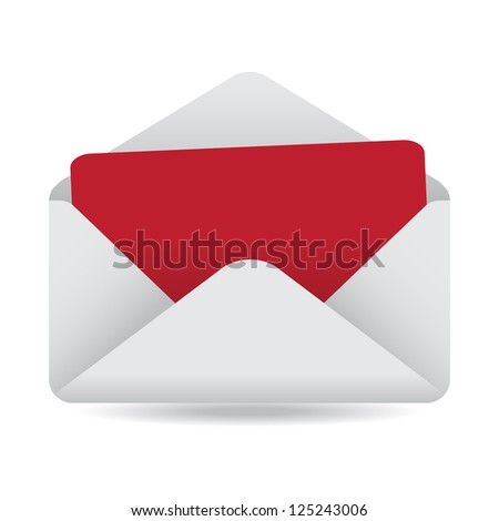 White Open Envelope with Empty Red Card - stock vector