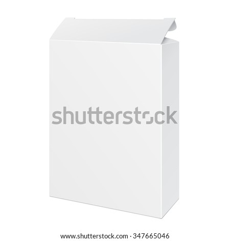 White Opened Product Cardboard Package Box. Illustration Isolated On White Background. Mock Up Template Ready For Your Design. Vector EPS10 - stock vector