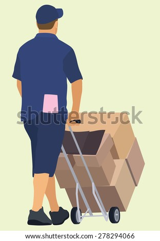 White or Caucasian Delivery Man Pushing Hand truck Viewed from Behind - stock vector