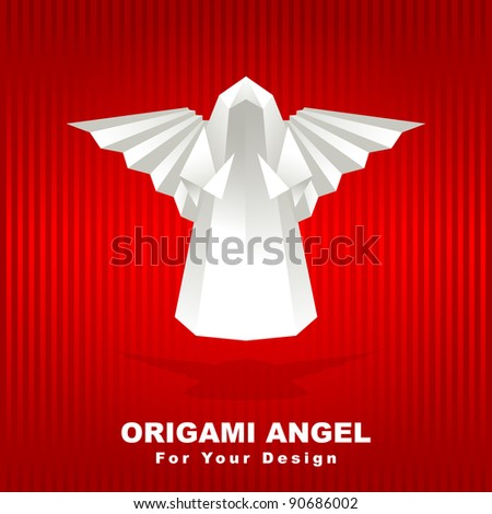 White Origami Angel On Red Background Stock Vector 90686002