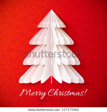 White origami Christmas tree vector greeting card with red background pattern - stock vector