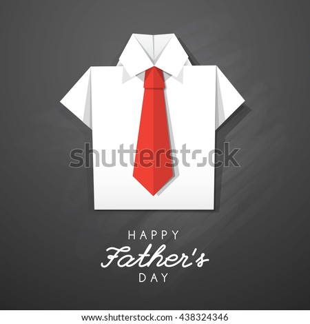 white origami shirt with red tie, vector card for fathers day - stock vector
