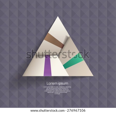 white origami Triangle on the texture background - stock vector