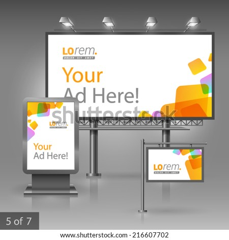 White outdoor advertising design for company with yellow square figures. Elements of stationery. - stock vector