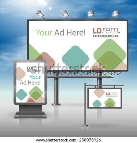 White outdoor advertising design for corporate identity with color square elements. Stationery set - stock vector