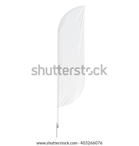 White Outdoor Feather Flag With Ground Spike, Stander Advertising Banner Shield. Mock Up Products On White Background Isolated. Ready For Your Design. Product Packing. Vector EPS10 - stock vector