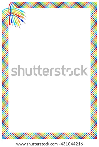 White page framed with plait border of colorful interlaced cables and connectors at the upper left corner. Vector pattern ornament around copy space.