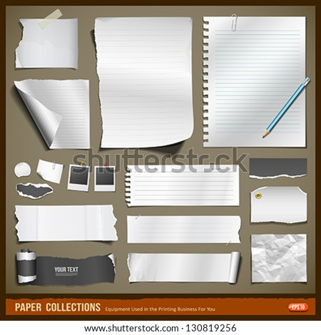 White paper and black paper collections for business, vector illustration