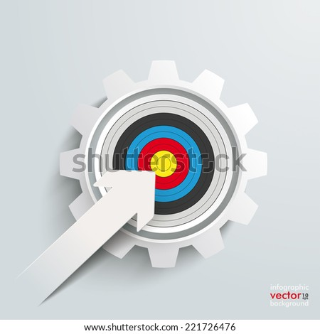 White paper arrow with red aim and white gear on the grey background. Eps 10 vector file. - stock vector