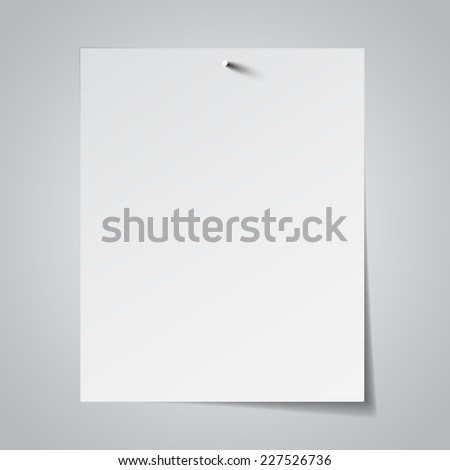 White paper attached with nail magazin. Vector illustration