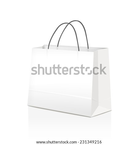 white paper bag isolated on white background  - stock vector