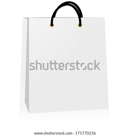 white paper bag, vector illustration