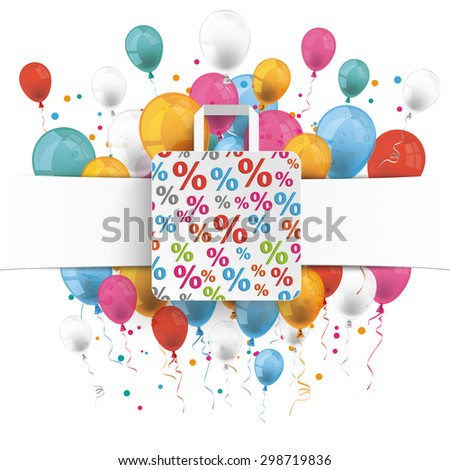White paper banner, shopping bag and colored balloons.  Eps 10 vector file. - stock vector