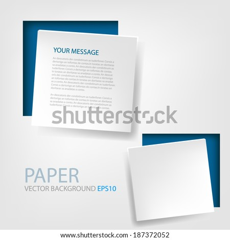 White paper box background on blue frame vector abstract on grey white background for text and message design - stock vector