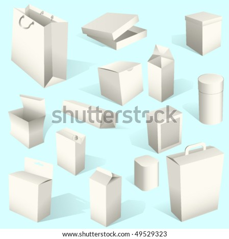White Paper Boxes and packages Set Vector. Also available in raster. - stock vector