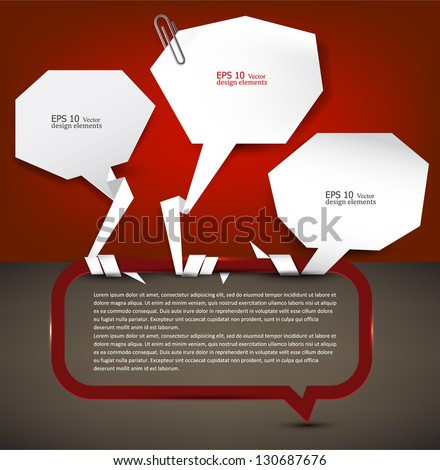 White paper bubbles with clip for speech - stock vector