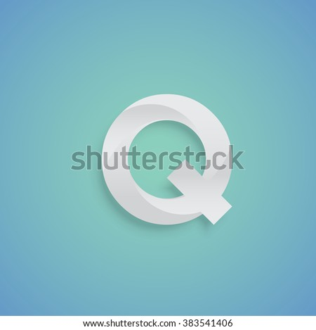 White paper character on blue background from a typeset, vector - stock vector