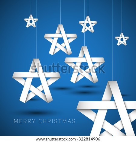 White paper christmas stars from stripes on a blue background, Vector background