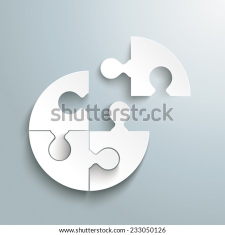 White paper circle puzzle on the grey background. Eps 10 vector file. - stock vector