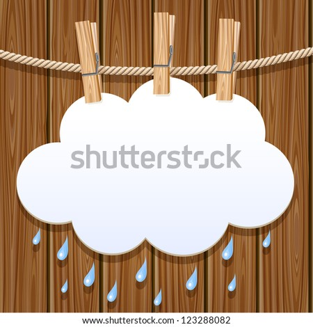 White paper cloud hanging by clothes peg on a clothesline - stock vector