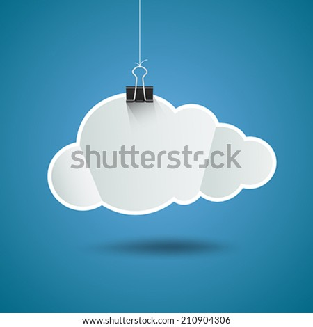 White paper cloud shape origami with binder clip design, on blue background, vector illustration - stock vector