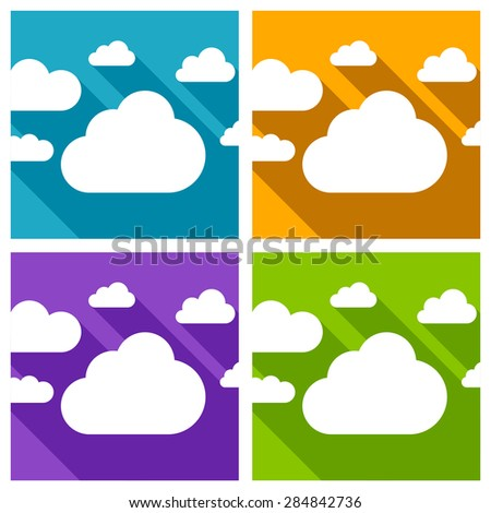 White paper clouds with a long shadow. Isolated on colored backgrounds. Vector illustration.