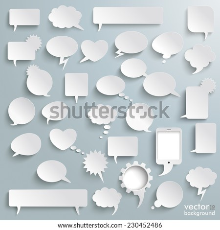 White paper communication bubbles on the grey background. Eps 10 vector file. - stock vector