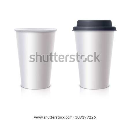 White paper cup with a black cover and without cover - stock vector