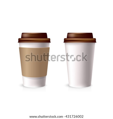 white paper cups with a brown lid. Vector illustration cardboard coffee tea cups