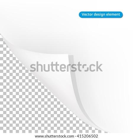 White paper curl - vector design element - stock vector