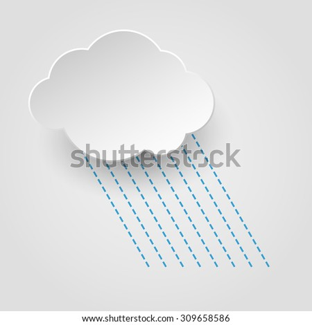 White paper cut cloud with rain lines on white background - stock vector