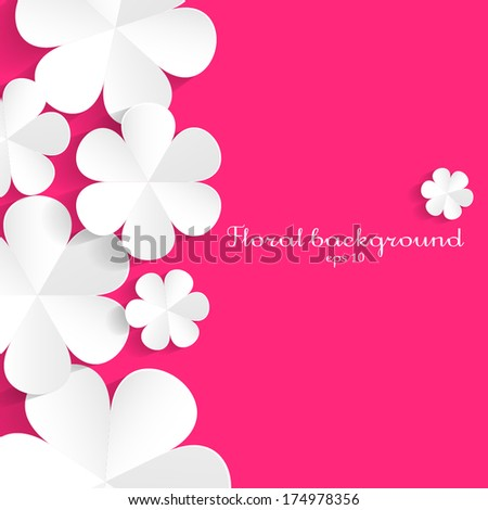 White paper flowers on pink background. Vector border element - stock vector