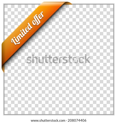 White paper frame and corner ribbon on transparent background. Put your own background image. Vector illustration - stock vector