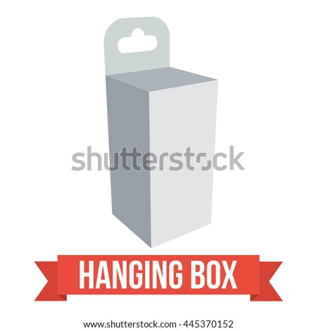 White paper hanging box set. Packaging container with hanging hole. Mock up template. Vector illustration on white background. - stock vector