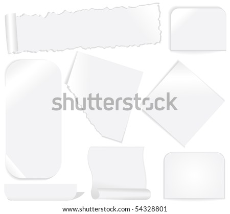 White paper labels and stickers set 2 - stock vector