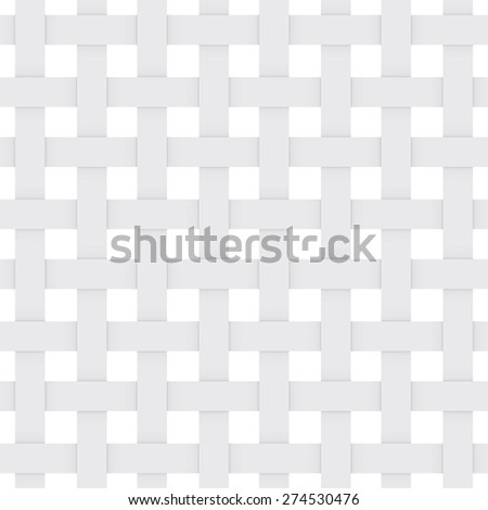 White paper lattice. abstract seamless Monochrome pattern. geometric background with shadow. Repeating structure. Vector  - stock vector