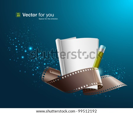 White paper note and film roll for film director. vector illustration - stock vector