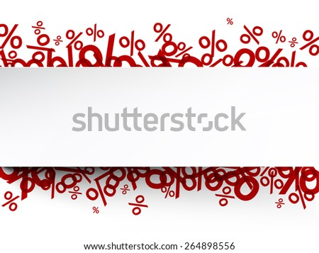 White paper note background over percent signs. Promotion coupon. Vector illustration.  - stock vector