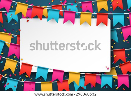 White paper note. Colorful celebration background with confetti. Vector Illustration. - stock vector