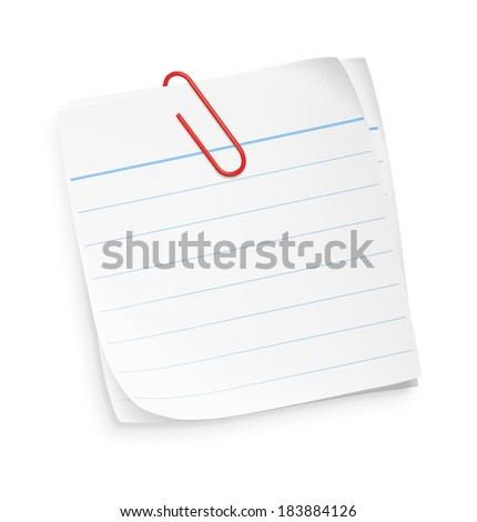 White paper note with blue stripes and red clip isolated on white background. Vector illustration. Realistic. - stock vector