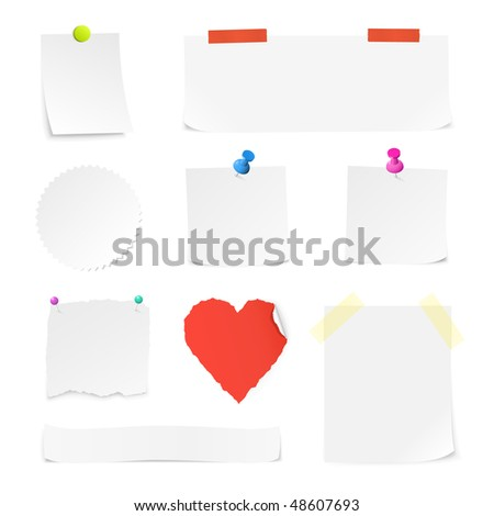 White paper notes in different shapes and sizes.